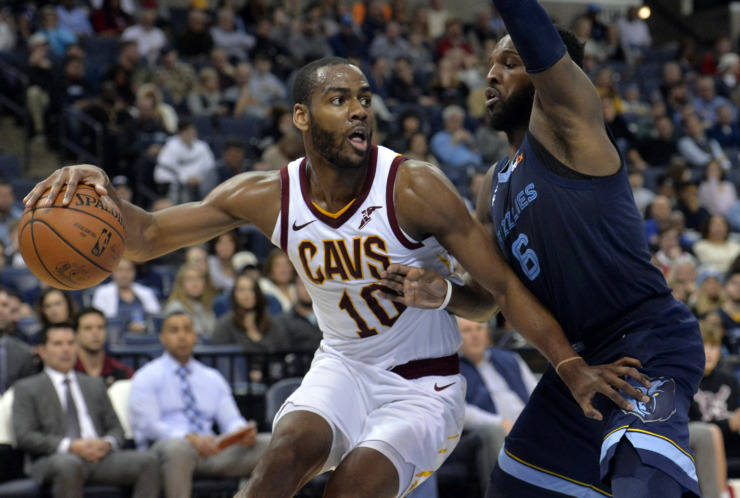 <strong>Cleveland Cavaliers guard Alec Burks (10) controls the ball as Memphis Grizzlies guard Shelvin Mack (6) defends during the second half of an NBA basketball game Wednesday, Dec. 26, 2018, in Memphis, Tenn.</strong> (AP Photo/Brandon Dill)