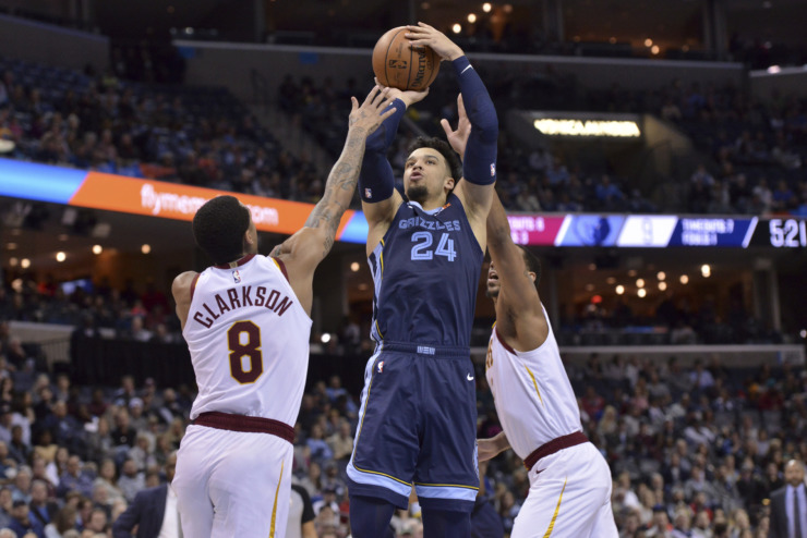 <strong>Memphis Grizzlies guard Dillon Brooks (24) shoots over Cleveland Cavaliers guard Jordan Clarkson (8) in the first half of an NBA basketball game Wednesday, Dec. 26, 2018, in Memphis, Tenn.</strong> (AP Photo/Brandon Dill)