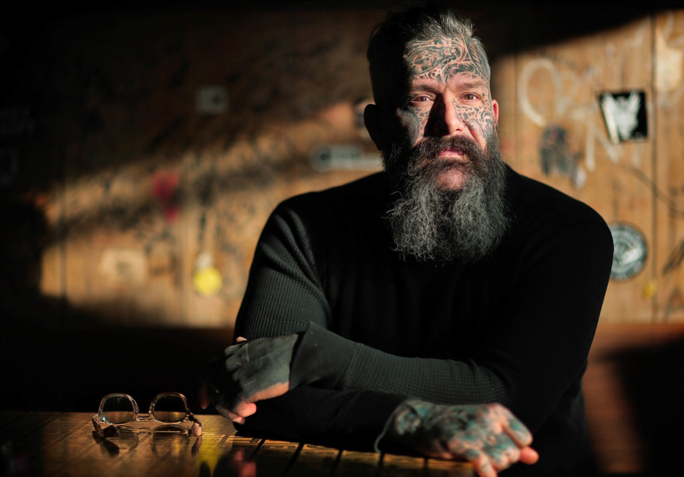 <strong>P&amp;H Cafe co-owner Robert Fortner, who has been getting tattoos since he was a teenager, says that when he started having his face tattooed it was like a new experience.</strong> (Jim Weber/Daily Memphian)