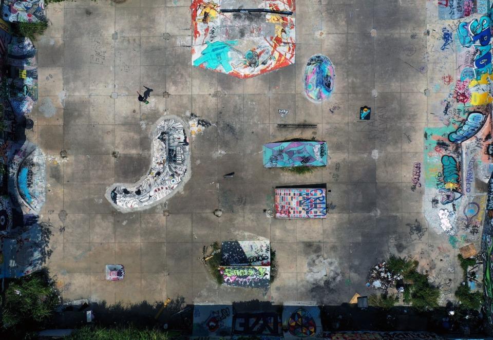 <strong>Eli Berry skates alone at Altown, an empty lot-turned-skatepark hidden just off Lamar Avenue, on Sept. 9.</strong> (Patrick Lantrip/Daily Memphian)