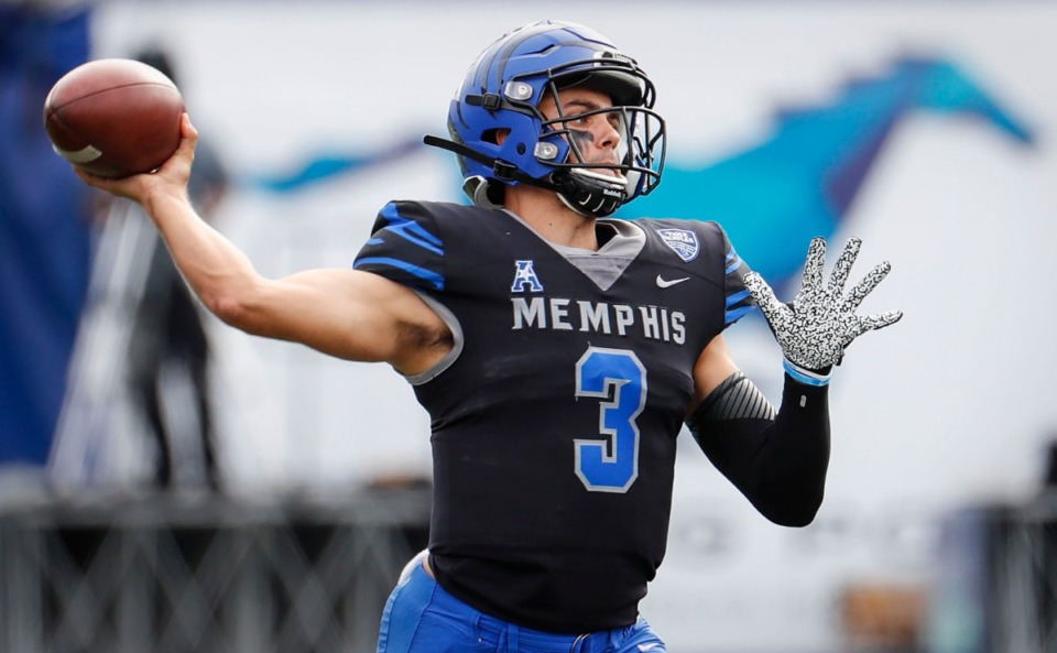 <strong>Memphis quarterback Brady White makes a throw against the Stephen F. Austin defense on Saturday, Nov. 21, 2020. He will leave U of M after having set most meaningful passing records.</strong> (Mark Weber/The Daily Memphian)