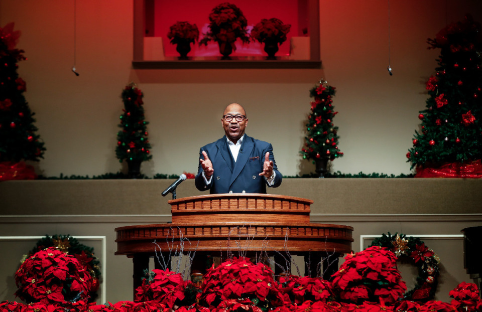 <strong>First Baptist Church Pastor Keith Norman tapes a segment of his weekend service on Friday, Dec. 11, 2020. Typically, the holidays are an opportunity for churches to reach people and during the pandemic their help is in demand.</strong> (Mark Weber/The Daily Memphian)