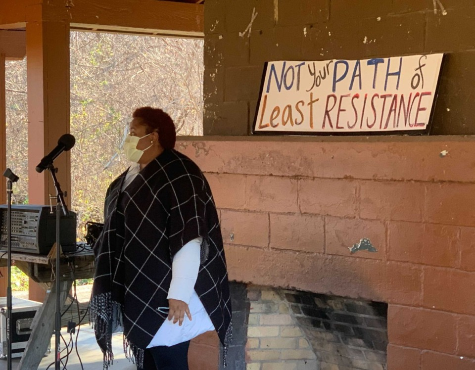<strong>Former U.S. Senate Candidate Marquita Bradshaw speaks at a rally about the Byhalia Pipeline Saturday, Dec. 12, 2020 at T.O. Fuller State Park.</strong> (Omer Yusef /Daily Memphian)