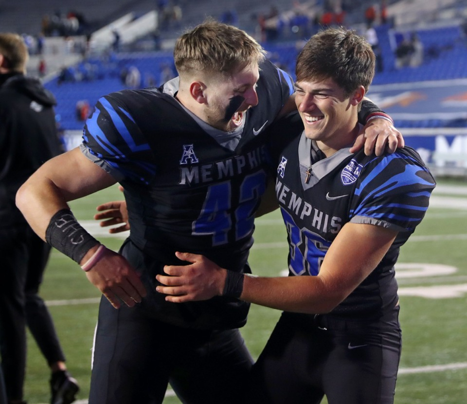 <strong>University of Memphis long snapper and holder Preston Brady (42) celebrates with kicker Riley Patterson (36) after he hit the game winning field goal against the University of Houston Dec. 12, 2020.</strong> (Patrick Lantrip/Daily Memphian)