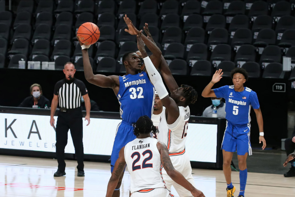<strong>Memphis freshman center Moussa Cisse prepares to shoot during the Holiday Hoopsgiving NCAA basketball game between the Memphis Tigers and the Auburn Tigers on Dec. 12 at State Farm Arena in Atlanta.</strong> <strong>Auburn won 74-71.</strong> (Courtesy Michael Wade)