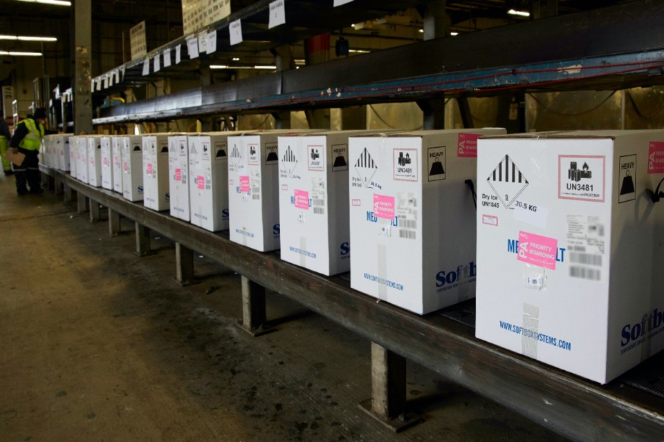<strong>Boxes of Pfizer/BioNTech&rsquo;s COVID-19 vaccine pass through the regular sort at the FedEx Express world hub in Memphis on Sunday, Dec. 13.</strong> (Courtesy FedEx)