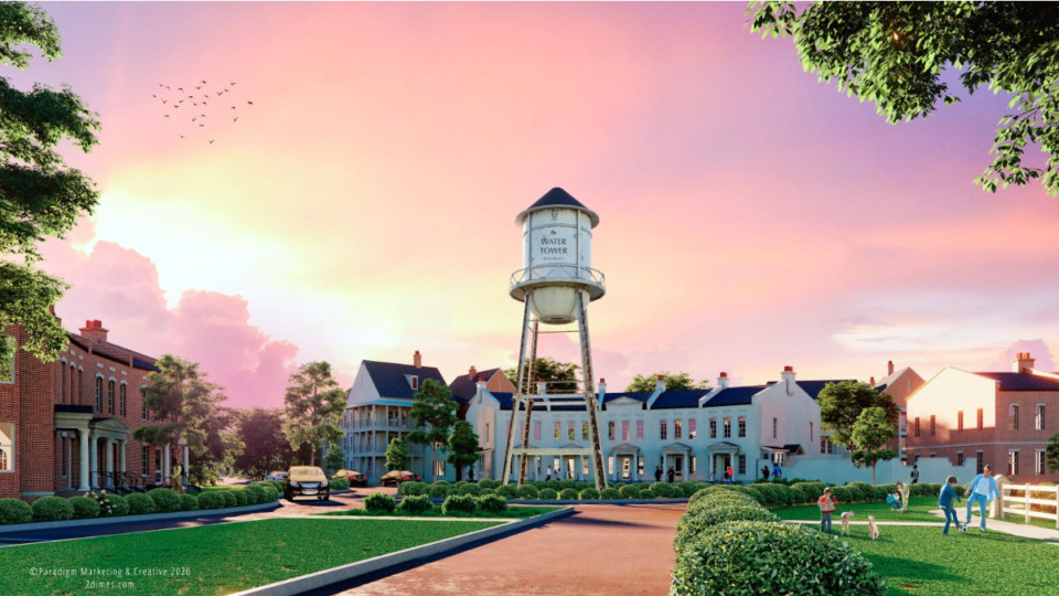 <strong>A rendering shows the water tower before a sunset at Schilling Farms.</strong> (Submitted)