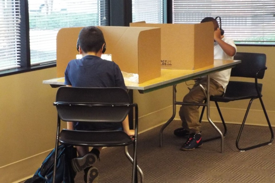 <strong>Shelby County Schools students log in remotely from the YMCA&rsquo;s virtual learning center in Cordova on the first day of school.</strong> (Courtesy of Jacinthia Jones, Chalkbeat)