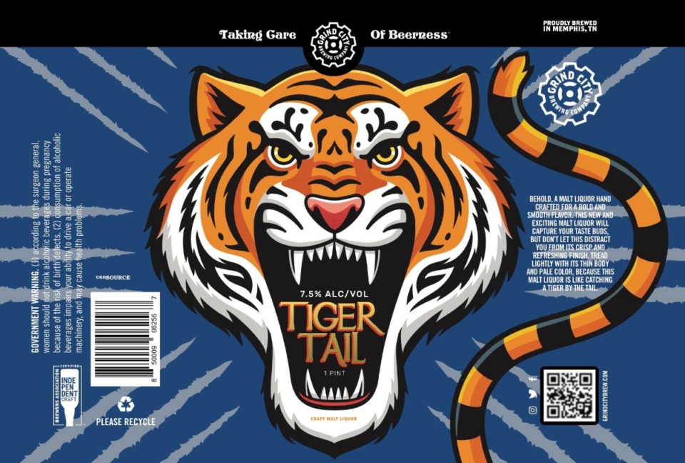 <strong>Tiger Tail, one of Grind City&rsquo;s newest products, is now the official craft beer of Tigers athletics. This is what the label looks like now, but it will be re-designed now that there&rsquo;s an official partnership.</strong> (Courtesy Grind City Brewing)