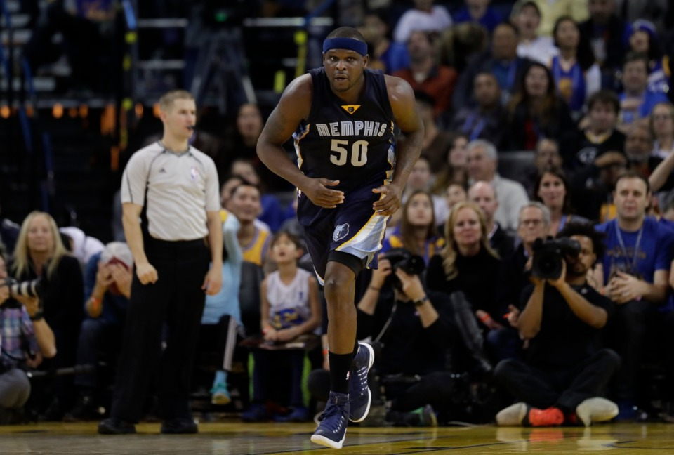 <strong>Memphis Grizzlies forward Zach Randolph runs down the court during the game against the Golden State Warriors, Jan. 6, 2017, in Oakland, California. Memphis won 128-119.</strong> (AP Photo/Marcio Jose Sanchez file)