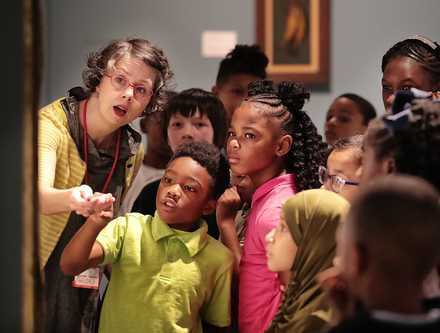 <strong>Shelby Oaks Elementary students learn about landscapes from Melissa Bridgman (left) from the Brooks Museum of Art during a visit by Brittany Rodgers' fourth-grade class to the museum on Sept. 9.</strong> (Jim Weber/Daily Memphian)