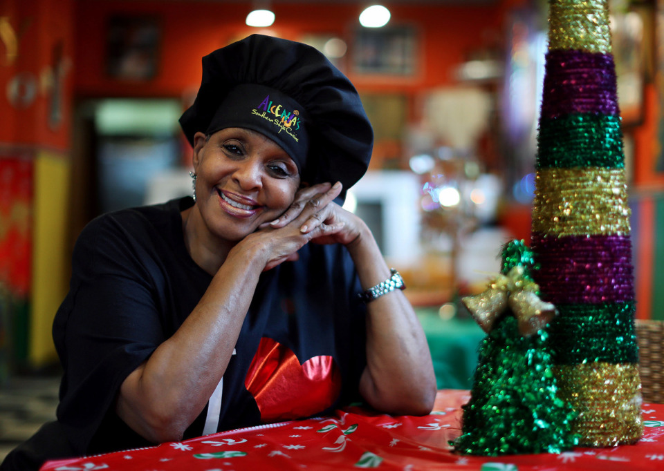 <strong>Alcenia's owner B.J. Chester-Tamayo poses for a portrait inside her Downtown restaurant Dec. 16, 2020.</strong> (Patrick Lantrip/Daily Memphian)