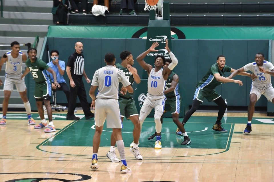 <strong>Memphis guard Damion Baugh goes for a rebound in the game against Tulane on Dec. 16, 2020.</strong> (Courtesy Tulane)