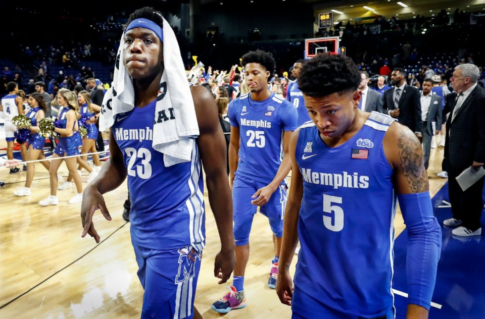 <strong>After the Tigers&rsquo; 80-40 loss to Tulsa on Jan. 22, 2020, Memphis teammates (left to right) Malcolm Dandridge, Jayden Hardaway and Boogie Ellis were downcast as they left the floor in Tulsa.</strong> (Mark Weber/Daily Memphian file)
