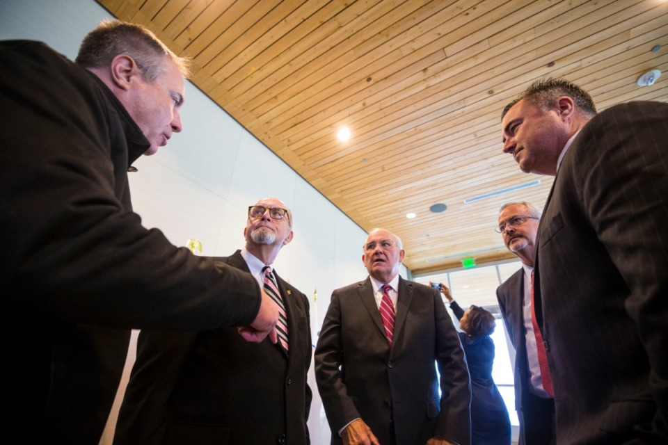 <strong>Suburban mayors (chatting at a pre-COVID event Oct. 25, 2019 at Shelby Farms) are against more pandemic related restrictions. The group includes (left to right) Germantown Mayor Mike Palazzolo, Bartlett Mayor Keith McDonald, Collierville Mayor Stan Joyner, Lakeland Mayor Mike Cunningham and Arlington Mayor Mark Wissman.</strong> (Ziggy Mack/Daily Memphian file)