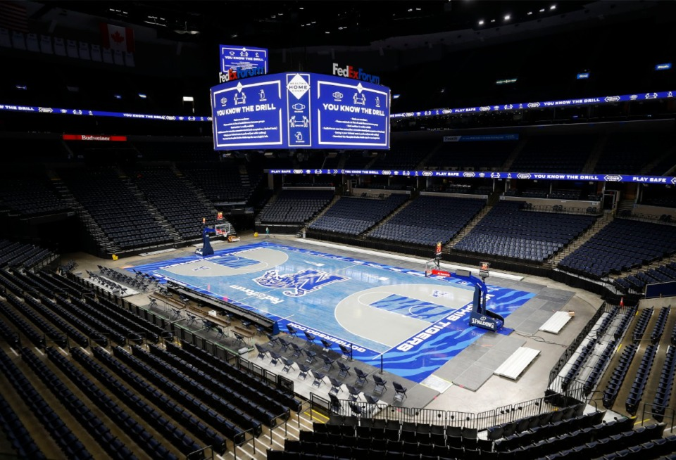 <strong>A&nbsp;tour of FedExForum Dec. 1, 2020 indicated no fans would be seated at court level for upcoming games. But a new directive indicates a step beyond limited seating ---- possibly no fans at all.</strong> (Mark Weber/The Daily Memphian)