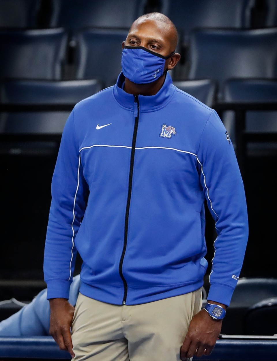 <strong>Memphis head coach Penny Hardaway on the bench during final minutes of a 56-49 loss to Tulsa on Monday, Dec. 21, 2020.</strong> (Mark Weber/The Daily Memphian)