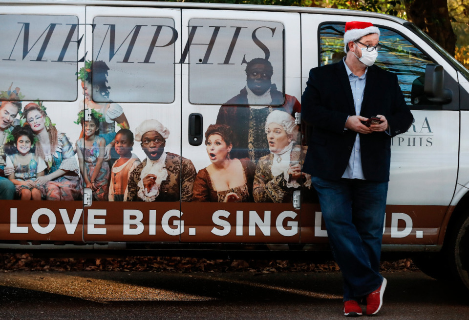 <strong>Opera Memphis General Director Ned Canty attends an outdoor Collierville neighborhood performance on Monday, Dec. 21, 2020.</strong> (Mark Weber/The Daily Memphian)
