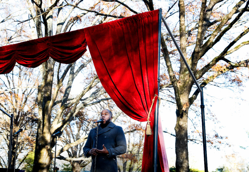 <strong>Opera Memphis singer Marcus King performs to a small crowd from a flatbed truck during an outdoor Collierville neighborhood performance on Monday, Dec. 21, 2020.</strong> (Mark Weber/The Daily Memphian)