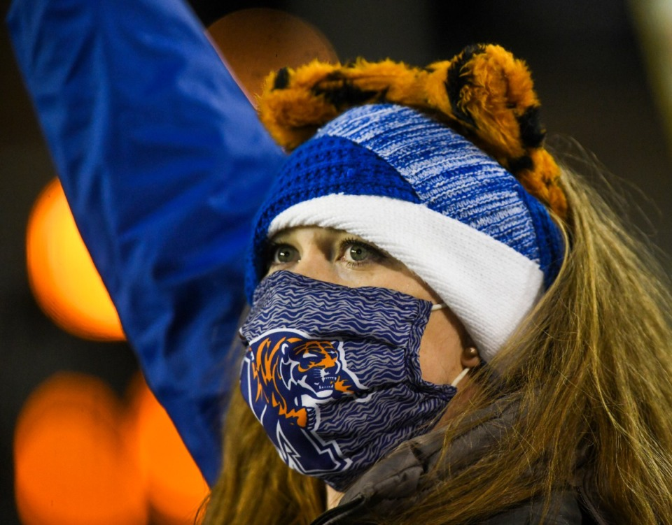 <strong>A Memphis fan looks on as the Tigers face Florida Atlantic in the Montgomery Bowl in Montgomery, Ala., on Wednesday, Dec. 23.</strong> (Julie Bennett/Memphis Athletics)