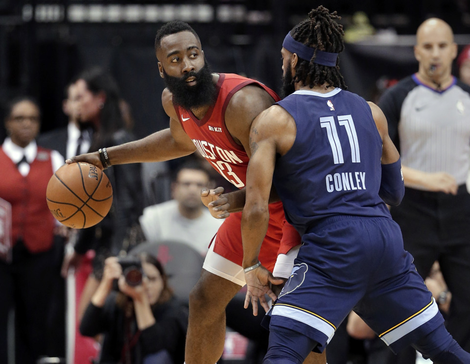 <span><strong>Houston Rockets guard James Harden (13) looks to pass the ball under pressure from Memphis Grizzlies guard Mike Conley (11) during the first half of an NBA basketball game Monday, Dec. 31, 2018, in Houston.</strong> (AP Photo/Michael Wyke)</span>