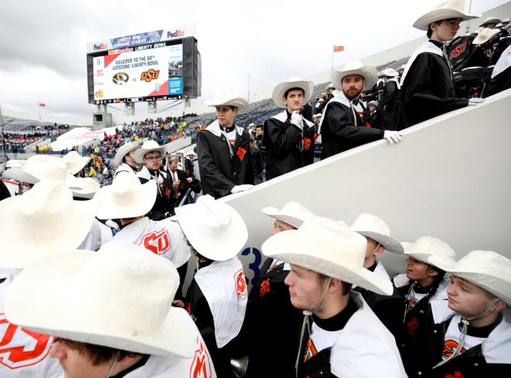 <strong>The Oklahoma State Cowboys marching band fills the stadium prior to the start of the 2018 AutoZone Liberty Bowl game against the University of Missouri Tigers on Dec. 31, 2018.</strong> (Houston Cofield/Daily Memphian)