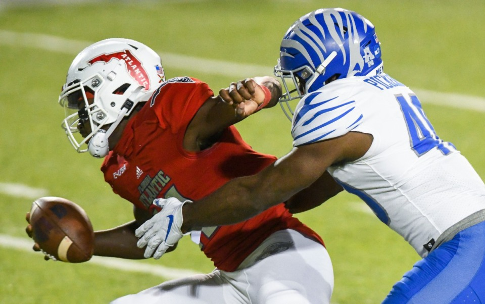 <strong>Thomas Pickens finished with eight tackles (two for loss), a sack and not to mention the game-sealing interception late in the fourth quarter Wednesday, Dec. 23, 2020, in the Montgomery Bowl at Cramton Bowl in Montgomery, Ala.</strong> (Julie Bennett/Memphis Athletics)