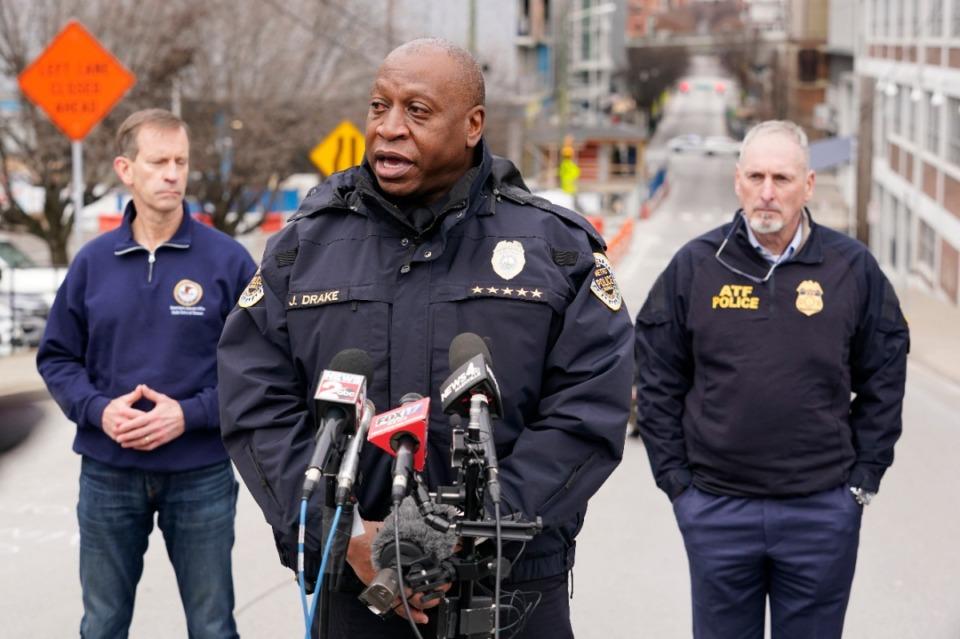 <strong>Nashville Police Chief John Drake, center, speaks during a news conference Friday, Dec. 25, 2020, in Nashville.</strong> (Mark Humphrey/AP)