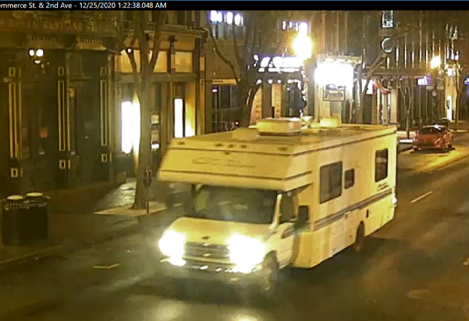 <strong>This image taken from surveillance video provided by Metro Nashville PD shows a recreational vehicle that was involved in a blast on Friday, Dec. 25, 2020 in Nashville. An explosion shook the largely deserted streets early Christmas morning, shattering windows, damaging buildings and wounding some people. Police were responding to a report of shots fired when they encountered a recreational vehicle blaring a recording that said a bomb would detonate in 15 minutes, Metro Nashville Police Chief John Drake said. Police evacuated nearby buildings and called in the bomb squad.</strong> (Metro Nashville PD via AP)