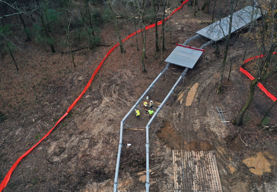 <strong>An aerial view of the elevated walkway being constructed through the Lucius Burch State Natural Area on Dec. 6, 2020.</strong> (Patrick Lantrip/Daily Memphian)