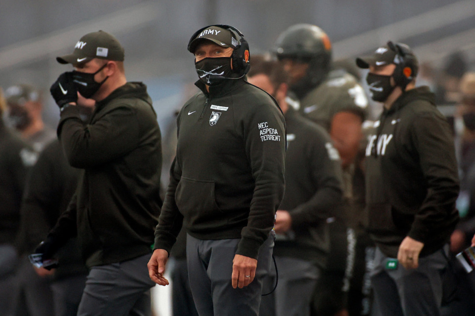 <strong>Army head coach Jeff Monken looks on against Navy during the Army-Navy game in West Point, N.Y., in Dec. 2020.</strong> (AP Photo/Adam Hunger, File)