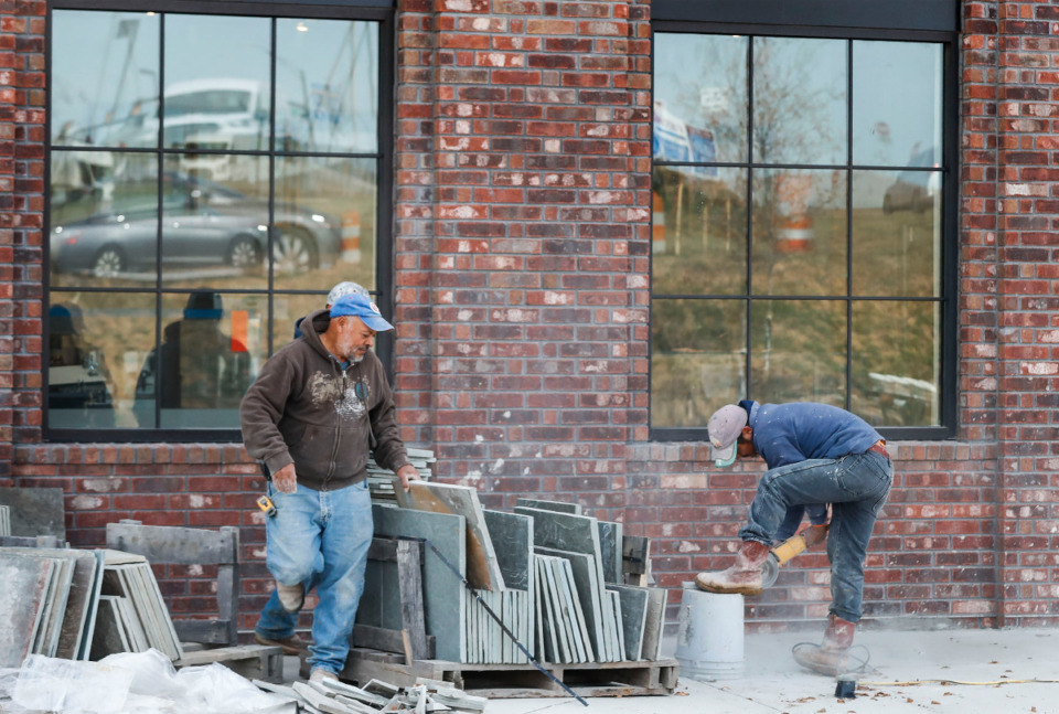 <strong>Construction continues on Nov. 24 at a Starbucks located at the $400 million development The Lake District in Lakeland.</strong> <strong>The coffeehouse is nearly ready to open, with only work on a gas line remaining.</strong> (Mark Weber/Daily Memphian)
