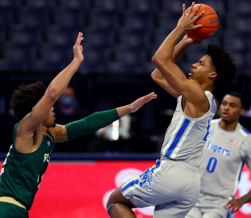 <strong>University of Memphis guard Jayden Hardaway (1) shoots a contested jumper during a home game against the University of South Florida on Dec. 29, 2020.</strong> (Patrick Lantrip/Daily Memphian)