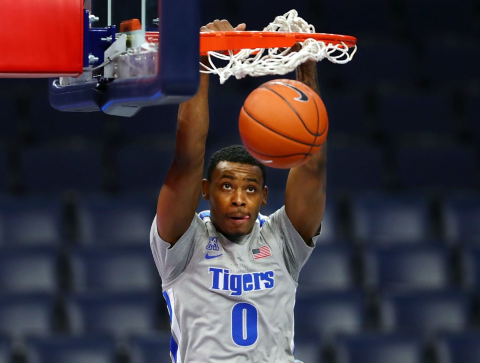 <strong>University of Memphis forward D.J. Jeffries (0) slams the ball during a home game against the University of South Florida Dec. 29, 2020.</strong> (Patrick Lantrip/Daily Memphian)
