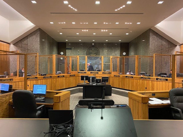 <strong>The Shelby County Commission meeting room outfitted for COVID-19. At the end of the 2020 calendar year, the commission is still looking over its shoulder at uncertain dollar figures that come from different pockets of revenues and fees.&nbsp;</strong>(The Daily Memphian)