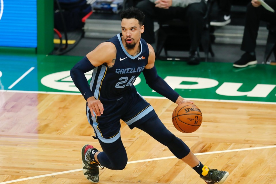 <strong>Dillon Brooks looks for an opening &nbsp;against the Boston Celtics on Wednesday, Dec. 30, 2020, in Boston.</strong> (Michael Dwyer/AP)