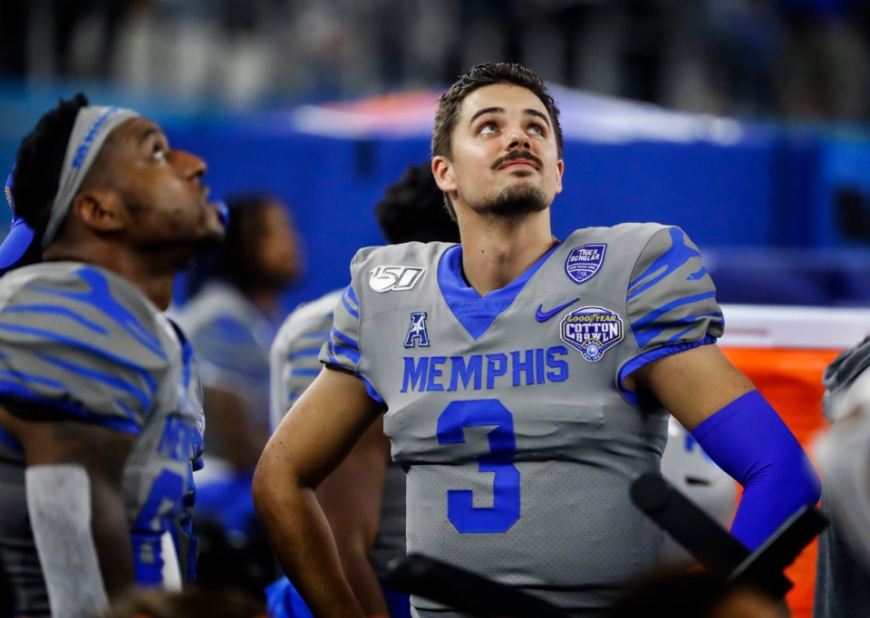 <strong>Like defensive lineman O&rsquo;Bryan Goodson, quarterback Brady White (watching from the sidelines at the Cotton Bowl Saturday, Dec. 28, 2019 in Arlington, Texas) has said he won&rsquo;t be returning to the University of Memphis.</strong> (Mark Weber/Daily Memphian file)