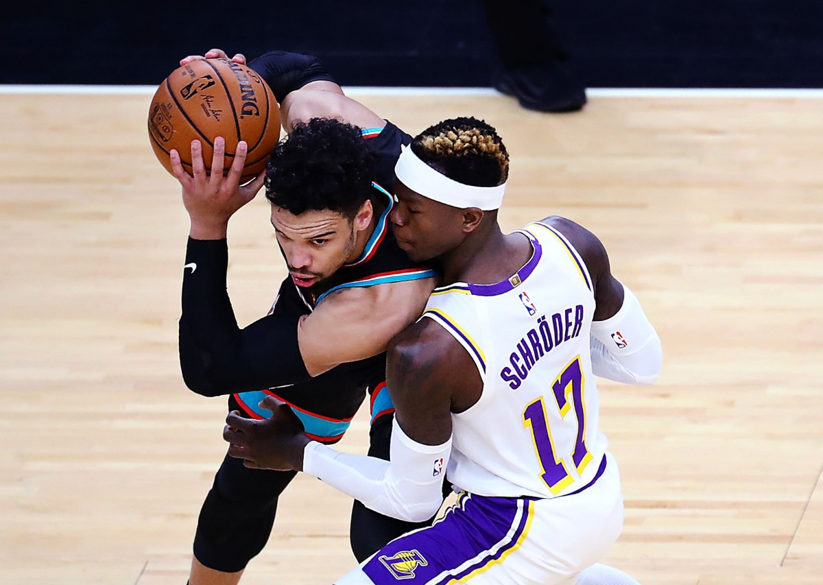 <strong>Memphis Grizzlies forward Dillon Brooks (24) tries to get past Los Angeles Lakers guard Dennis Schroder (17) during a Jan. 3, 2021 game at the FedExForum.</strong> (Patrick Lantrip/Daily Memphian)