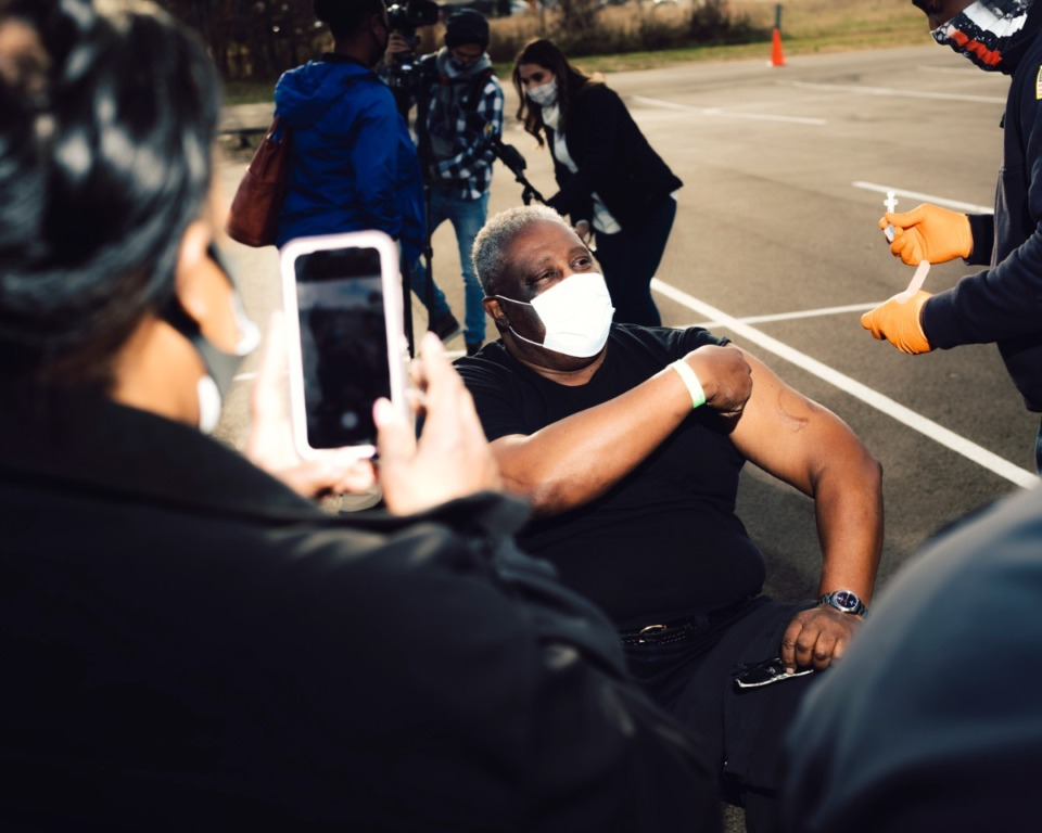 <strong>A member of the Memphis Fire Department received a coronavirus vaccination on Dec. 28. Health care and essential workers were among the first to receive the vaccine in Memphis.</strong> (Houston Cofield/Special To The Daily Memphian)