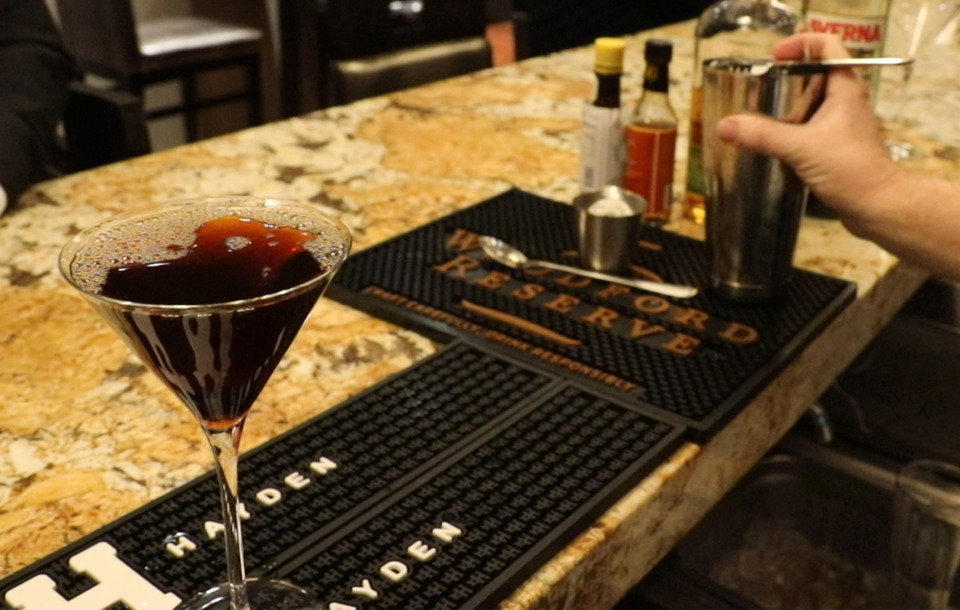 <strong>This week's Bar Talk featured cocktaiul is the Black Manhattan by Chris Backey of Ronnie Grisanti's.</strong> (Patrick Lantrip/Daily Memphian)