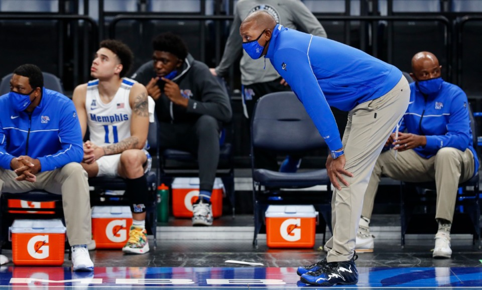 <strong>Memphis head coach Penny Hardaway during the final minutes of December 2020 game against Tulsa.</strong> (Mark Weber/The Daily Memphian file)