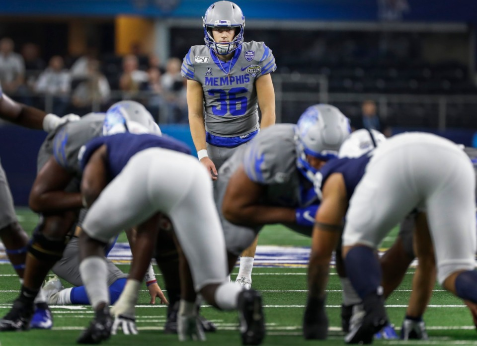 <strong>Memphis kicker Riley Patterson (middle) made six field goals against Penn State at the Cotton Bowl in 2019. Will he return to the team next season?</strong>&nbsp;(Mark Weber/Daily Memphian file)