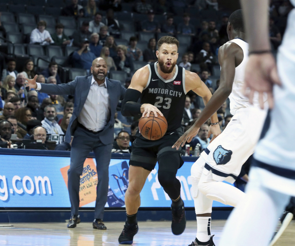 <span><strong>Detroit Pistons' Blake Griffin (23) makes his way down court as Memphis Grizzlies Jaren Jackson Jr. (13) looks to defend him in the first half of an NBA basketball game Wednesday, Jan. 2, 2019, in Memphis, Tenn.</strong> (AP Photo/Karen Pulfer Focht)</span>