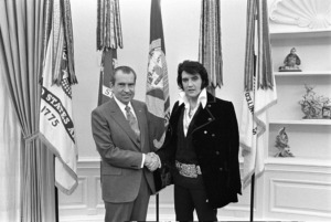<strong>On Dec. 21, 1970, Elvis Presley showed up unannounced at the White House gates to deliver a letter to President Richard Nixon.&nbsp;This picture of the meeting is the most requested photo from the National Archives.</strong> (Courtesy of National Archives)