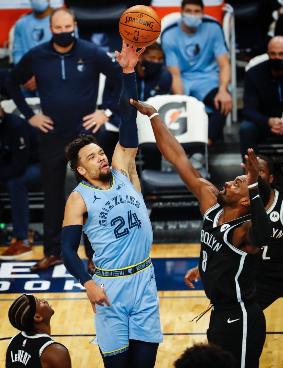 <strong>Grizzlies guard Dillion Brooks (left) makes a basket against Brooklyn&rsquo;s Jeff Green (right) on Friday, Jan. 8, 2021.</strong> (Mark Weber/The Daily Memphian)