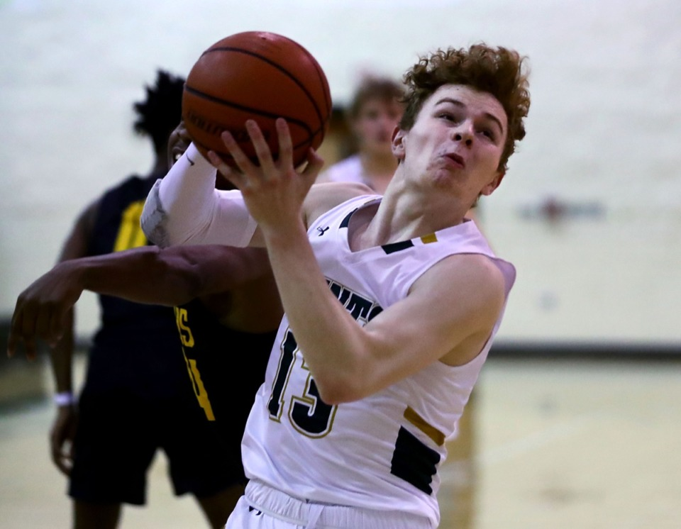 <strong>Briarcrest Christian School guard Cooper Haynes (13) drives to the basket on Jan. 8 against Memphis Academy of Health Sciences.</strong> (Patrick Lantrip/Daily Memphian)