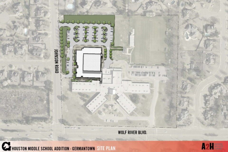 <strong>Board members got a first look at renderings Tuesday evening. This shows how the addition will sit northwest of the current building.&nbsp;</strong>&nbsp;(Submitted)
