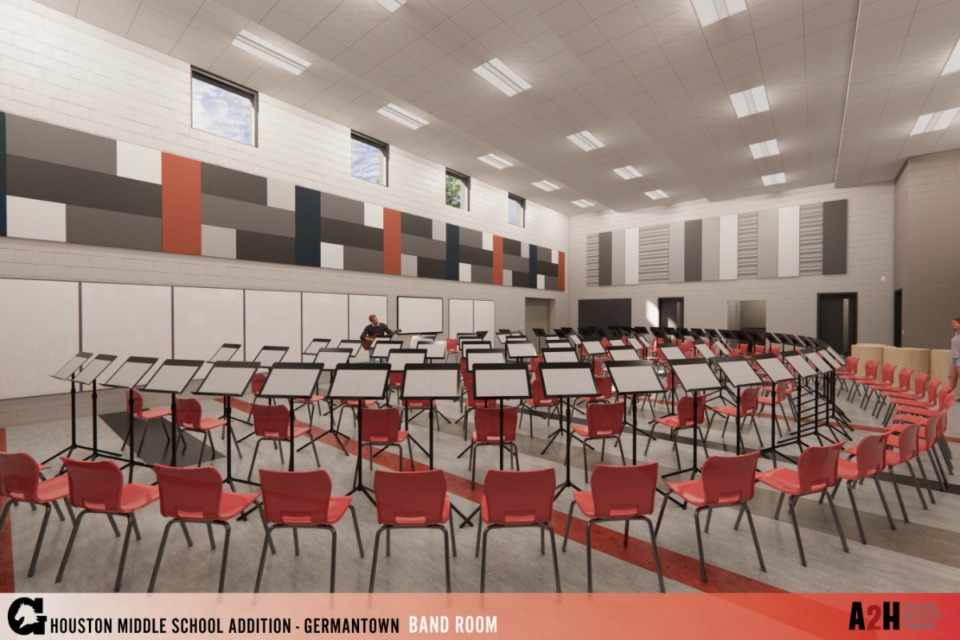 <strong>The band room is 2,400 square feet. The vaulted ceilings could allow color guard to practice in the room.</strong>&nbsp;(Submitted)