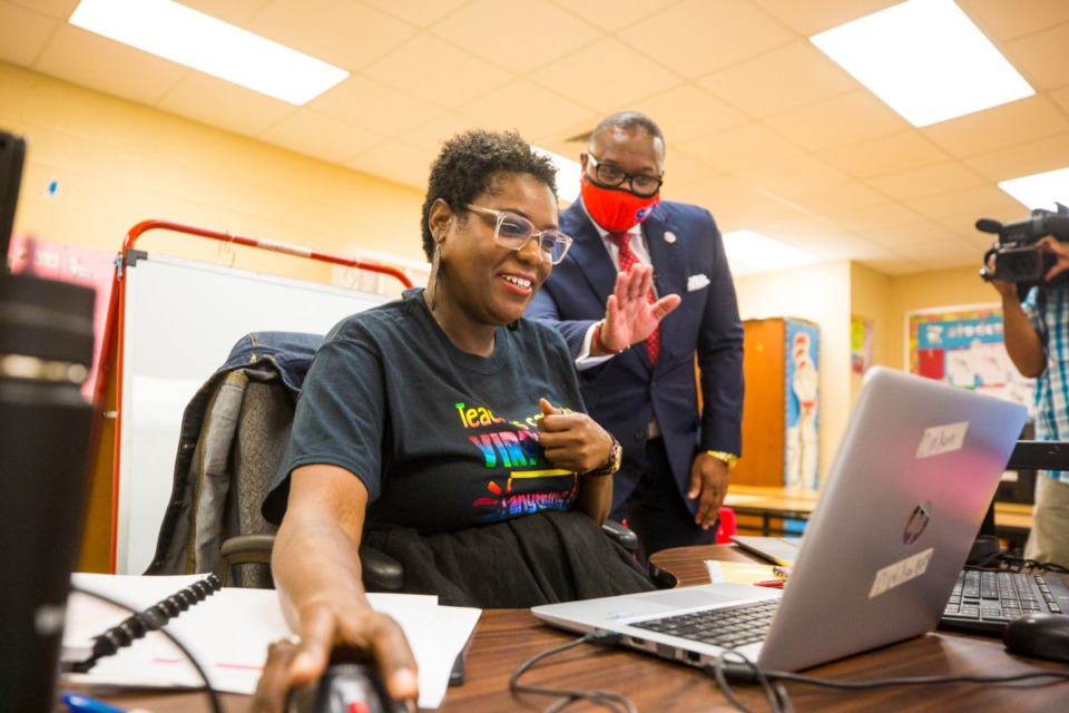 <strong>Superintendent Dr. Joris Ray (in a file photo) tours teacher Dorina Wilson&rsquo;s classroom and others during a visit to Winridge Elementary.</strong> (Ziggy Mack/Daily Memphian file)