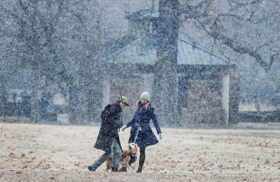 <strong>Parts of the Memphis-area got a dusting of snow Monday, Jan. 11, 2021. In Midtown, a couple frolics with a dog in Overton Park. </strong>(Mark Weber/Daily Memphian)